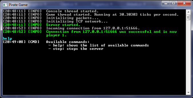 Console with command support, properly formatted