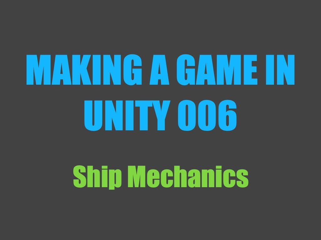 Making a game in Unity 006