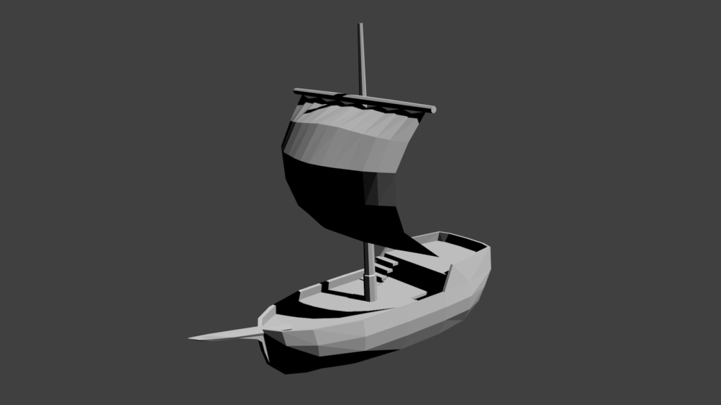 3D ship model with hull and sail