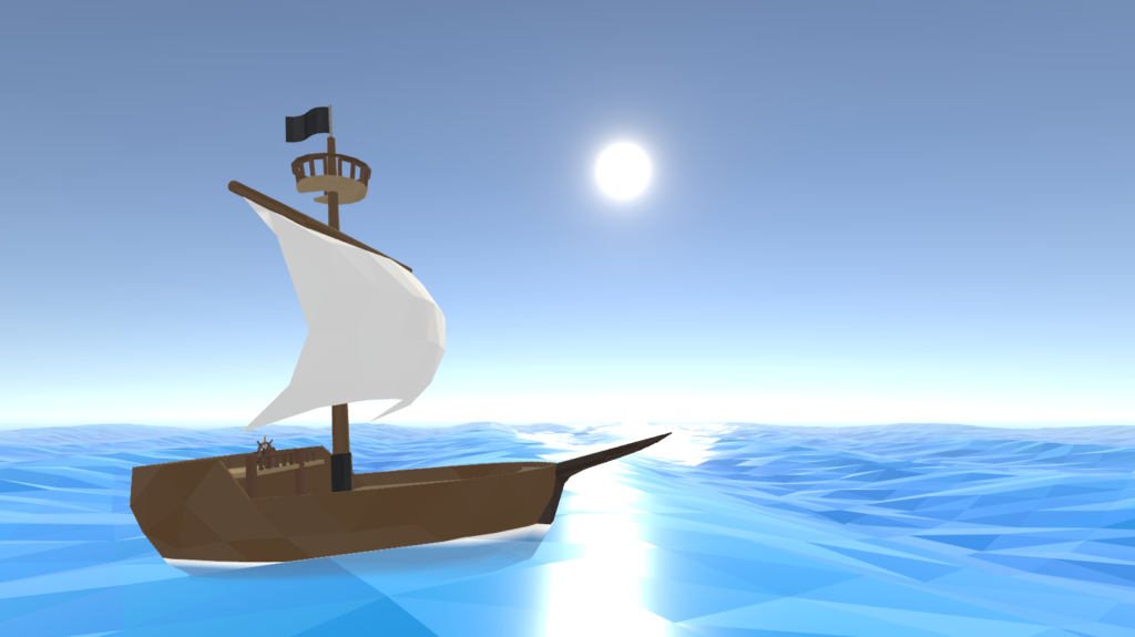 Remodeled ship with low poly water