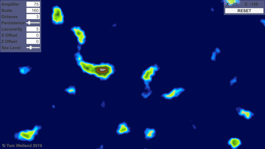 Screenshot of the mapper with nice island terrain generation