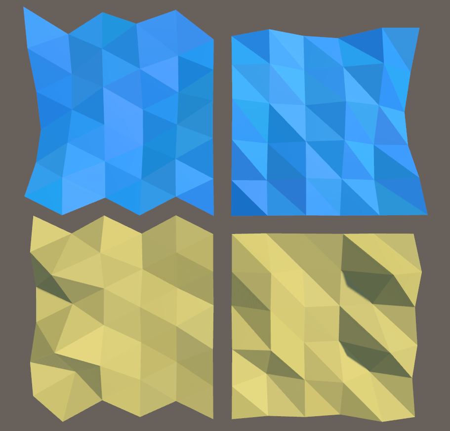 New equilateral mesh structure vs old right-angled mesh structure